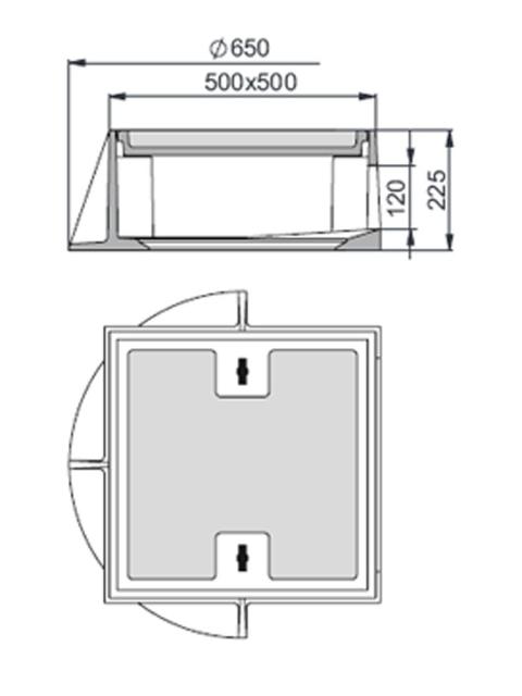Rahmen: Gusseisen   Deckel: Beton-Guss