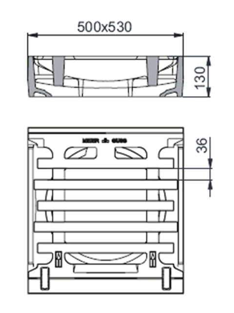 Rahmen: Gusseisen   Rost: Gusseisen    Klasse D 400    Pultform