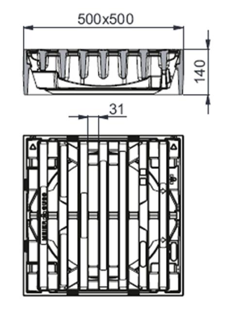 Rahmen: Gusseisen   Rost: Gusseisen System MEIDRAIN®