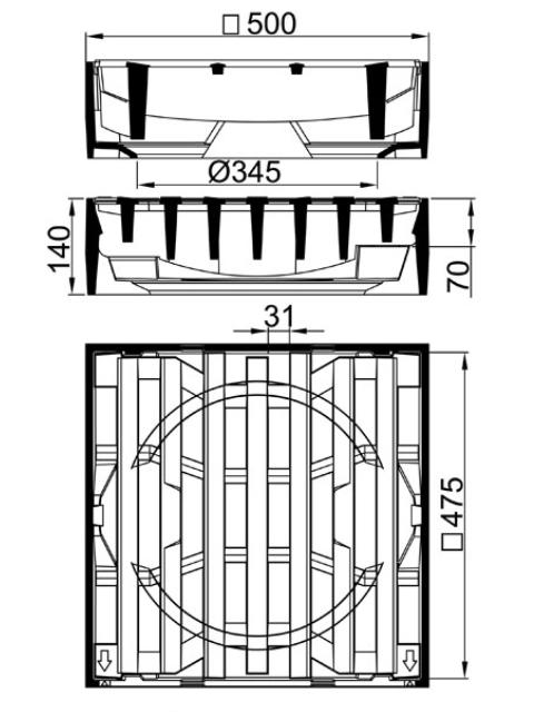 Rahmen: Gusseisen | Rost: Gusseisen | Klasse D 400
