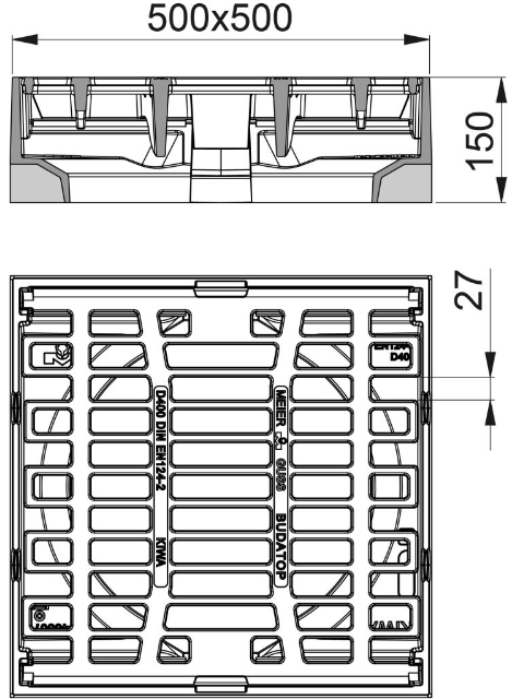 Rahmen: Gusseisen | Rost: Gusseisen 500 x 500