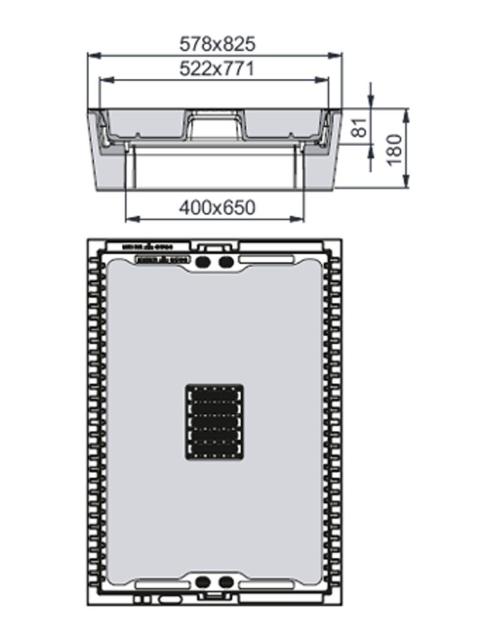 Rahmen: Beton-Guss | Deckel: Beton-Guss | zum Kabel-Abzweigkasten 650/400