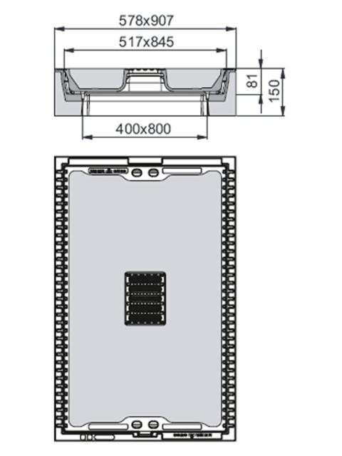 Rahmen: Beton-Guss | Deckel: Beton-Guss | zum Kabel-Abzweigkasten 800/400