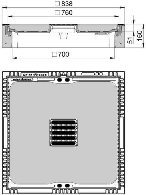 Rahmen: Beton-Guss | Deckel: Beton-Guss | lichte Weite 700/700