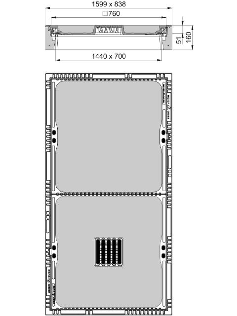 Rahmen: Beton-Guss | Deckel: Beton-Guss | lichte Weite 700/1440
