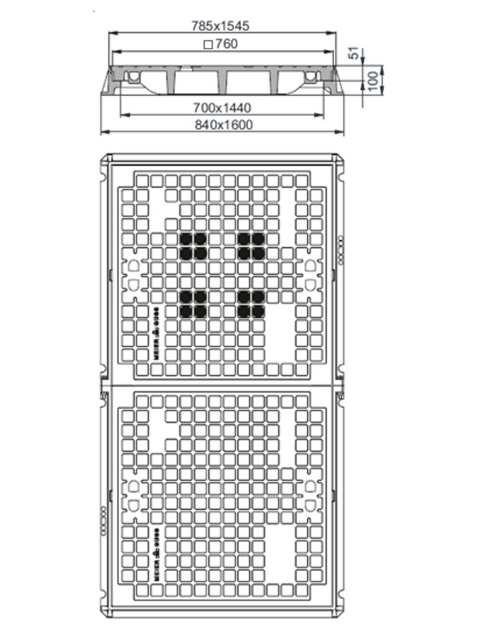 Rahmen: Gusseisen | Deckel: Gusseisen | lichte Weite 700/1440