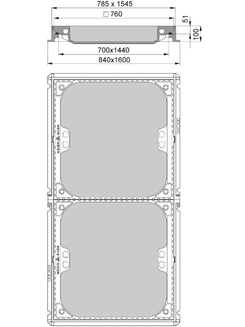 Rahmen: Gusseisen | Deckel: Beton-Guss | lichte Weite 700/1440
