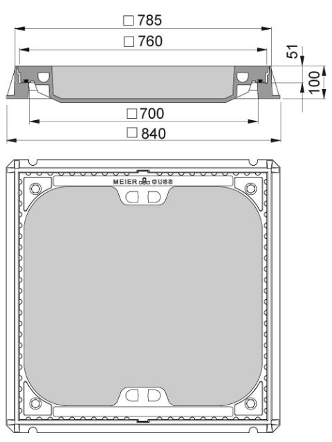 Rahmen: Gusseisen | Deckel: Beton-Guss | lichte Weite 700/700