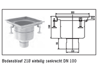 ACO Bodenablauf 218 einteilig DN 100, senkrecht und waagrecht