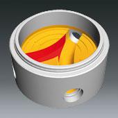 Ausprägungen für Schachtbodenteile DN1000, DN 800 u. DN600 - Ausprägung für seitliche Zuläufe zum Hauptgerinne gebogen