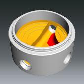 Ausprägungen für Schachtbodenteile DN1000, DN 800 u. DN600 - Ausprägung für seitliche Zuläufe zum Hauptgerinne gerade