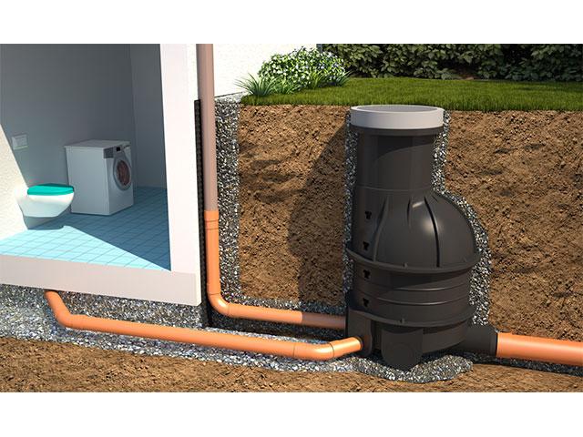 Abwasserkontrollschacht mit Gerinneboden