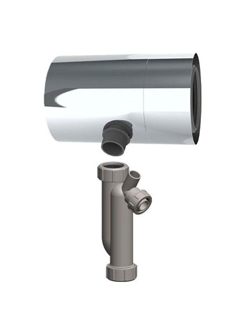 Kondensatfalle für waagrechten und senkrechten Einbau mit Siphon (und montiertem PP-Innenrohr)