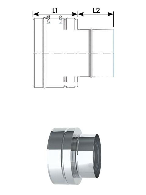 Einzelteile - Übergang NiroLine DW5000 auf NiroLine EW5000 Muffe