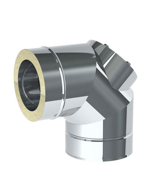 Einzelteile - Bogen 90° mit Revisionsöffnung für den Überdruck bis 600° C / 5000 Pa