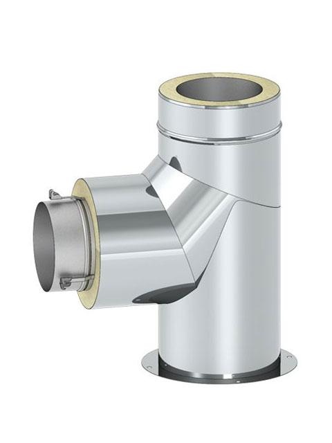 Überdruckdichte Verbindungsleitung - Bogen 90° mit Stützfuß mit Zughaken und Übergang zu DW5000 Verbindungsleitung