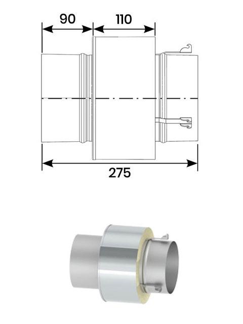 Überdruckdichte Verbindungsleitung - Übergang von NiroLine DW5000 auf NiroLine EW5000 (für den Einbau des Schalldämpfers