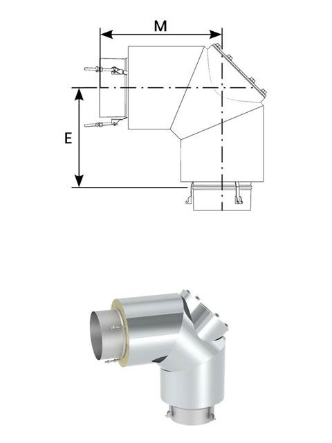 Überdruckdichte Verbindungsleitung - Bogen 90° mit Revisionsöffnung bis 600° C / 5000 Pa