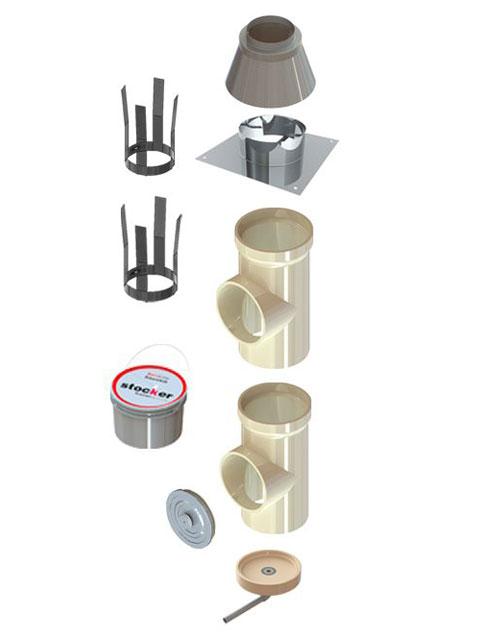 Kaminpakete - KeraLine EW Isostatisch Kaminpakete Kamineinführung mit T-Stück 90°