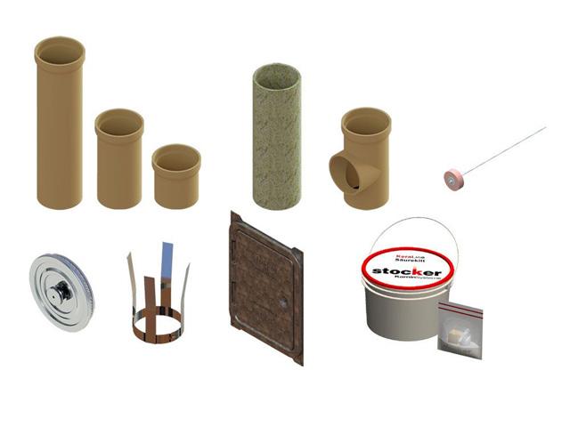 Kaminpakete - KeraLine EW Isostatisch Kaminpakete Kamineinführung mit T-Stück 90° - Zubehörteile