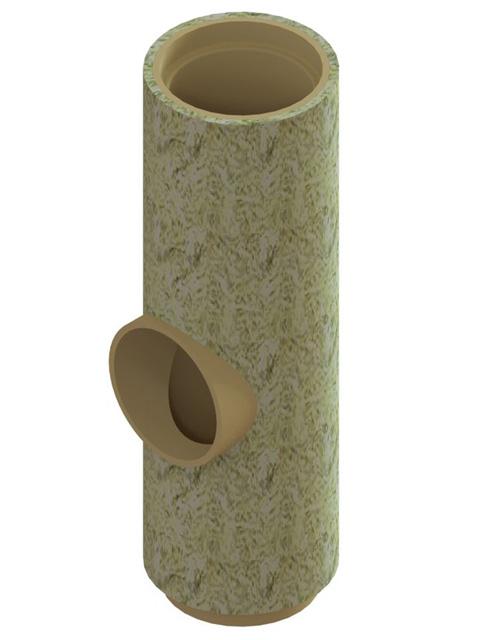 Einzelteile - T-Stück für Rauchrohr- oder Reinigungsanschluss 660 mm gedämmt