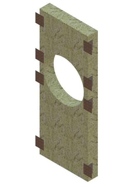 Einzelteile - Frontplatte für Rauchrohranschluss (Steinwolle) mit Halteklammern