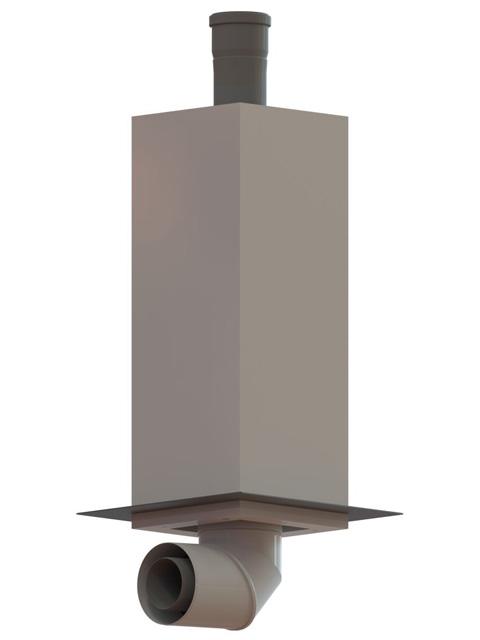 Einzelteile F90 einzügig - Fußelement zur Kamineinführung von unten in den Leichtbauschacht (RLU + RLA)
