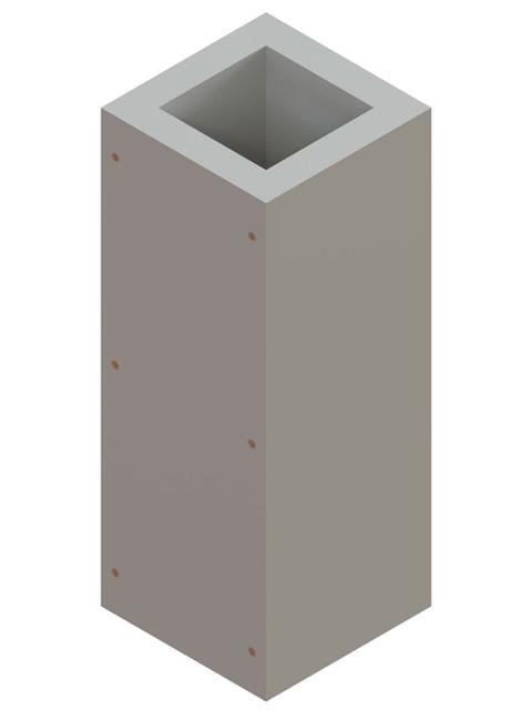 Einzelteile F90 einzügig - Schachtelement einzügig 600 mm - einseitig offen