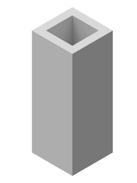 Einzelteile F90 einzügig - Grundiertes Schachtelement einzügig 600 mm