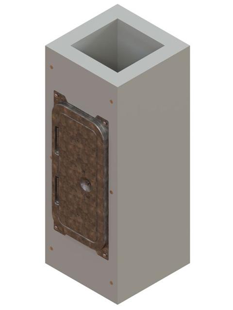 Einzelteile F90 einzügig - Schachtelement einzügig 600 mm mit eingebauter Putztür verzinkt