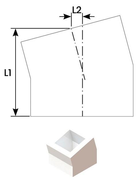 Einzelteile F90 einzügig - Schachtumlenkungswinkel 15°