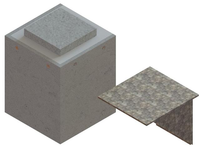 Einzelteile F90 einzügig - Konsolenverkleidung F90 für Leichtbauschacht inkl. massiv geschweißter Metallkonsole