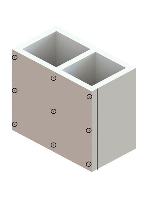 Einzelteile F90 doppelzügig - Schachtelement doppelzügig 600 mm - einseitig offen
