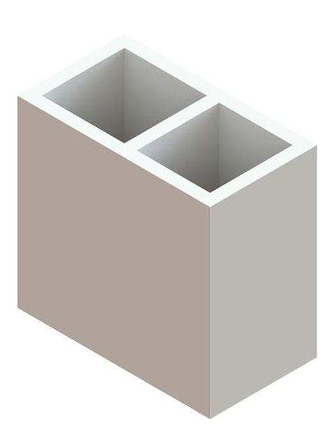 Einzelteile F90 doppelzügig - Schachtelement doppelzügig 600 mm