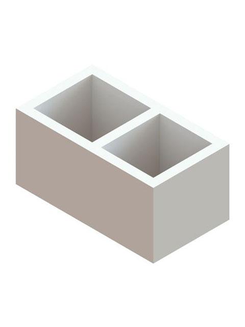 Einzelteile F90 doppelzügig - Schachtelement doppelzügig 300 mm