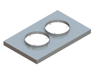 Einzelteile F90 doppelzügig - Edelstahl Abdeckplatte doppelzügig mit 3 Zentrierschrauben und Hinterlüftung