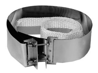 Anschlussmanschettenpaar (2 Stück) für Abgasklappen mit Spannschloss und Dichtband aus Glasseidengewebe