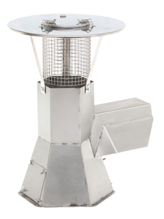 Anheizhilfen / Rauchsauger - Regenhaube für Rauchsauger mit aufklappbarer Reinigungsöffnung oben ohne Funkenflugsieb