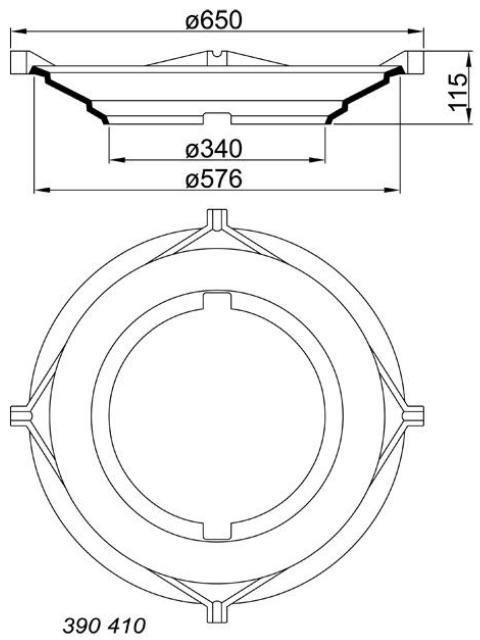 Einlauftrichter aus Gusseisen für runde Schachtgitter