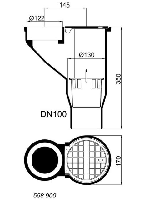 Regenrohrablauf DN 100 Klasse  L 15