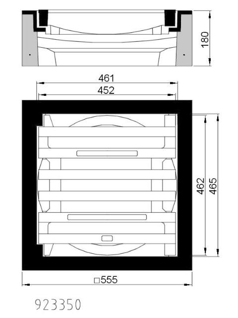 B/G-Einlaufgitter Kl. C 250, 450x450, Pultform