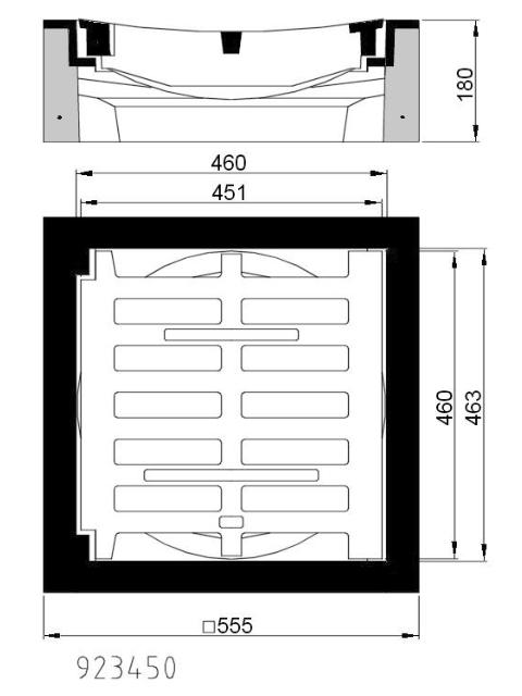 B/G-Einlaufgitter Kl. C 250, 450x450, Rinnenform