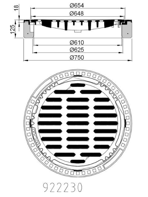 B/G-Einlaufgitter Kl. B 125, rund, Muldenform