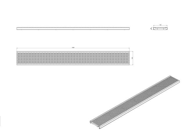 Produktbild BG-FA Lochrost 1000/122/20, Ø 8mm *L