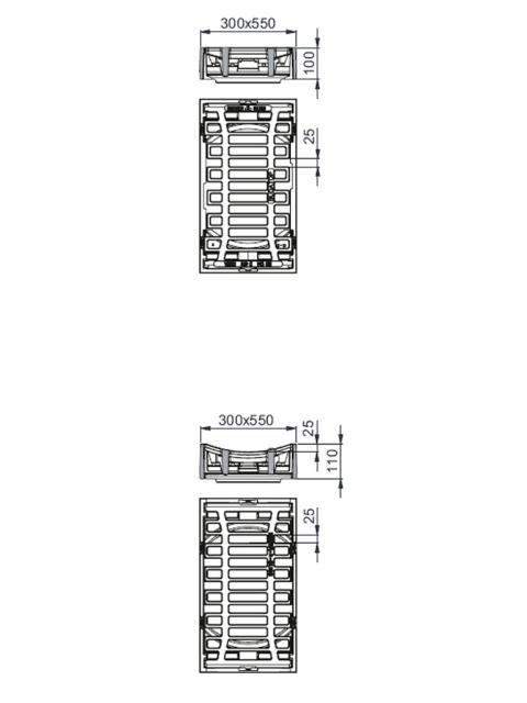 Rahmen: Gusseisen | Rost: Gusseisen 300 x 500