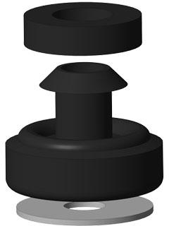 Gummipuffer, 3-teilig zur Schallentkopplung