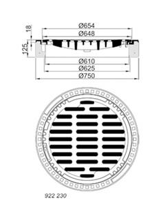 Produktbild B/G – Einlaufgitter, Kl. B 125 rund