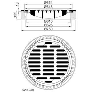 Produktbild B/G – Einlaufgitter, Kl. C 250 rund
